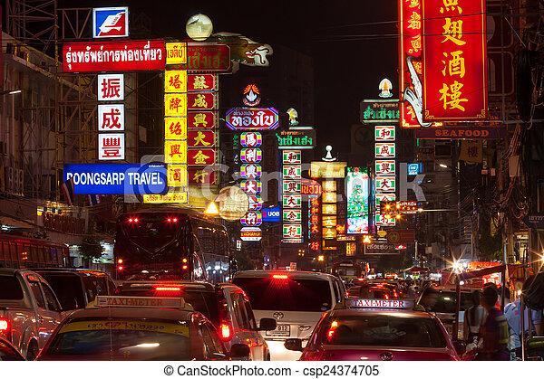 BANGKOK - DECEMBER 31: Busy Yaowarat Road in the night on Decemb - csp24374705