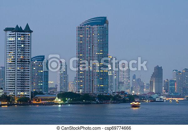 bangkok, edificio, río, city., rascacielos - csp69774666