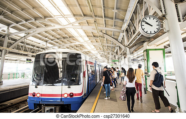 Bangkok Gente Tren Clock Estacion Viajar Focus Tailandia