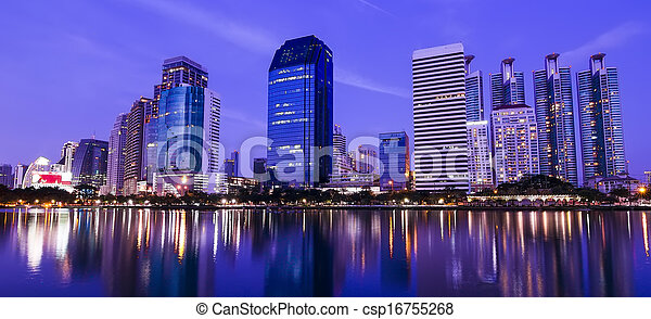 Bangkok in the night with building - csp16755268