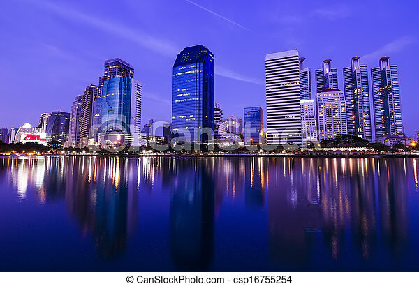 Bangkok in the night with building - csp16755254