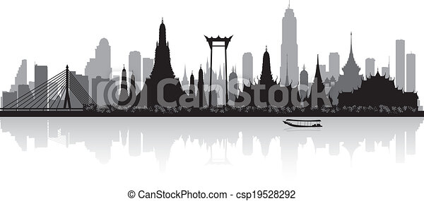 bangkok, tailandia, siluetta skyline, città - csp19528292