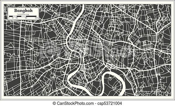 bangkok thailand city map in retro style outline map vector