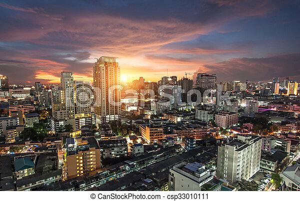 bangkok, trafic ville, vue - csp33010111