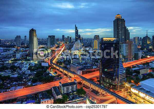 bangkok, ville, nuit, vue - csp25301797