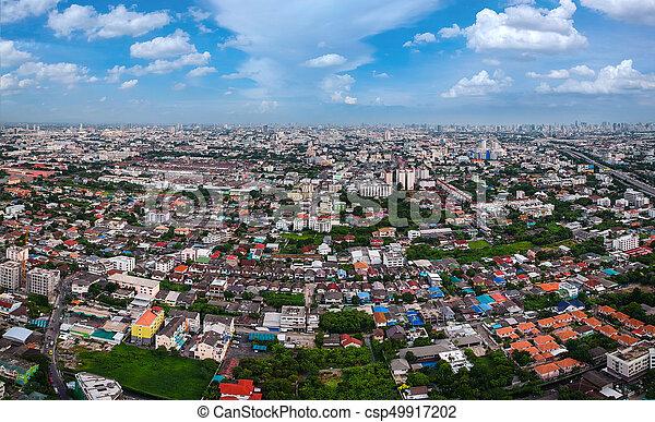 bangkok, ville, vue aérienne - csp49917202