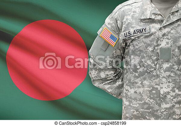 banglades, -, amerikai, katona, lobogó, háttér - csp24858199