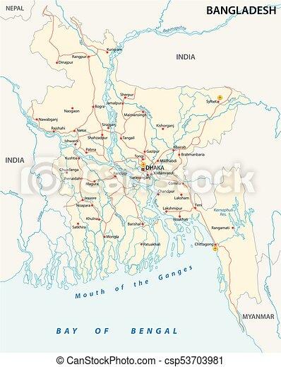 bangladesch road vector map - csp53703981