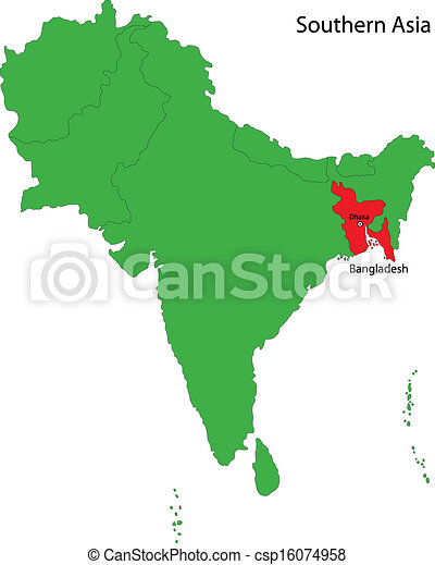 Bangladesh On Map Of Asia.Bangladesh Map Location Of Bangladesh On Southern Asia