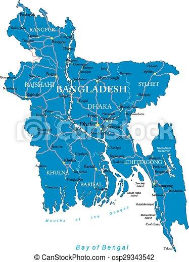 Bangladesh Map Highly Detailed Vector Map Of Bangladesh Eps