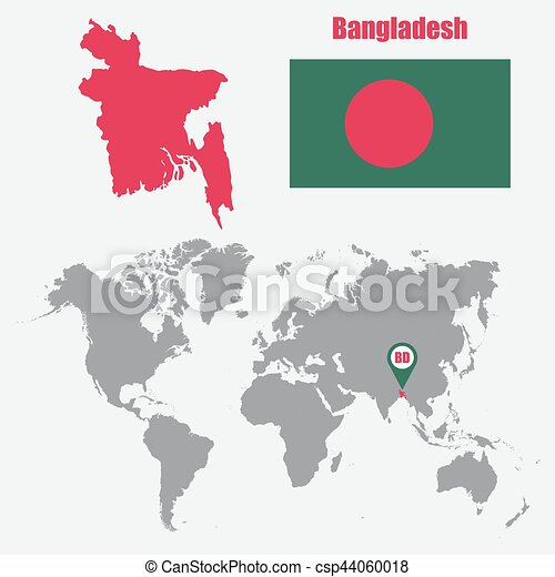 Bangladesh map on a world map with flag and map pointer vector bangladesh map on a world map with flag and map pointer vector illustration gumiabroncs Image collections