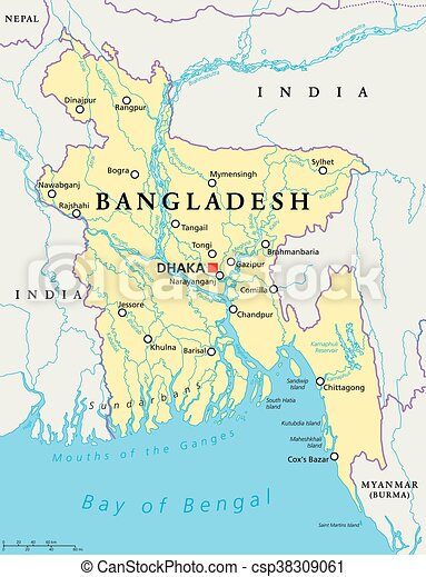 Bangladesh Political Map Bangladesh Political Map With Capital