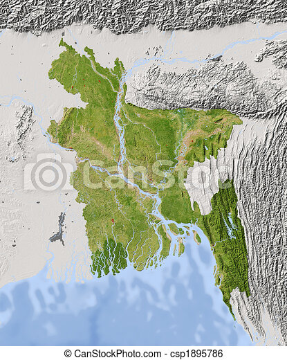Bangladesh Shaded Relief Map Bangladesh Shaded Relief Map