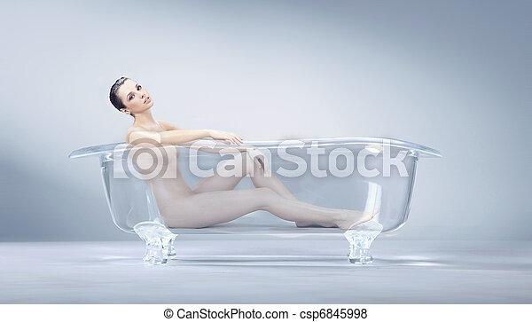 banhar-se, mulher - csp6845998