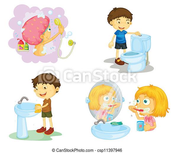 banheiro, crianças, acessórios - csp11397946