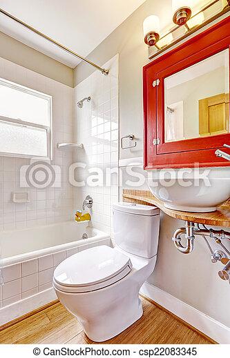 Banheiro Interior Gabinete Pia Espelho Navio Branco Vermelho