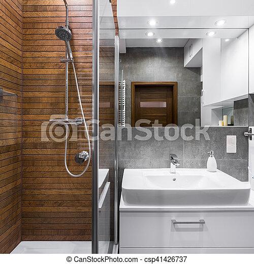 Banheiro madeira azulejos efeito estilo chuveiro - Fliesenmuster dusche ...