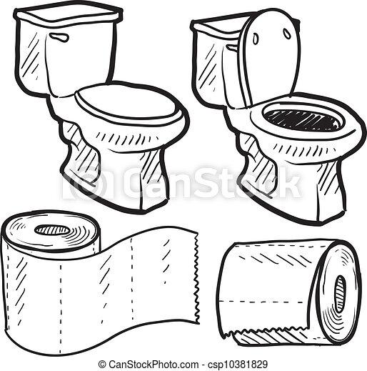 banheiro, objetos, esboço - csp10381829