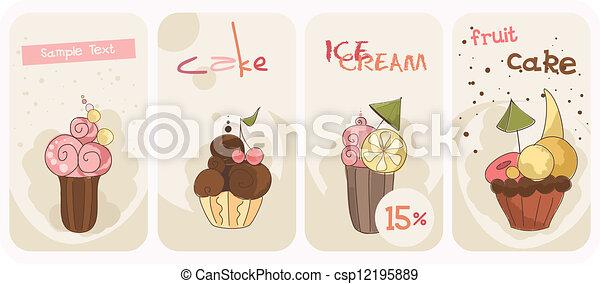 banieren, set, cupcakes - csp12195889