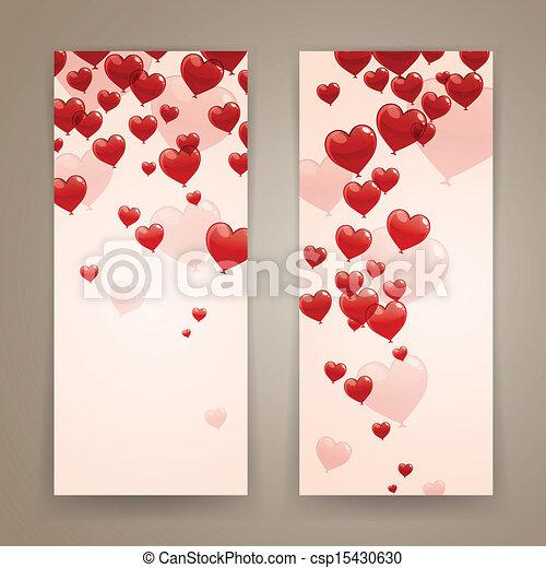 banieren, vector, romantische - csp15430630