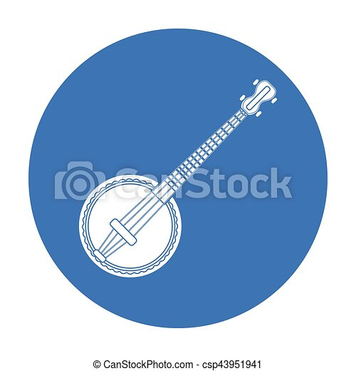 Banjo Icon In Black Style Isolated On White Background Musical
