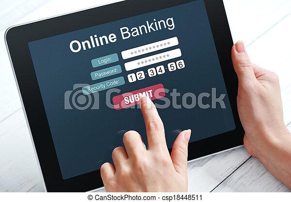 bankügylet, fogalom, online - csp18448511