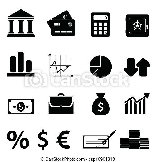 bankügylet, pénzel, ügy icons - csp10901318