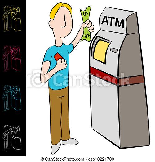 bank atm money kiosk machine an image of a man using a bank rh canstockphoto com atm clip art free atm clipart black and white