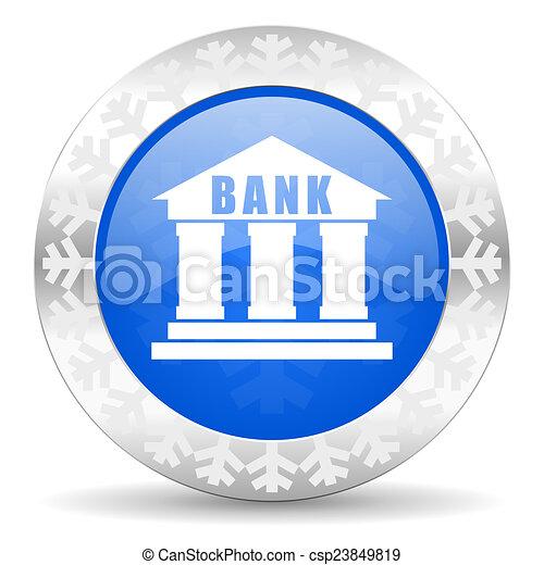 bank blue icon, christmas button - csp23849819