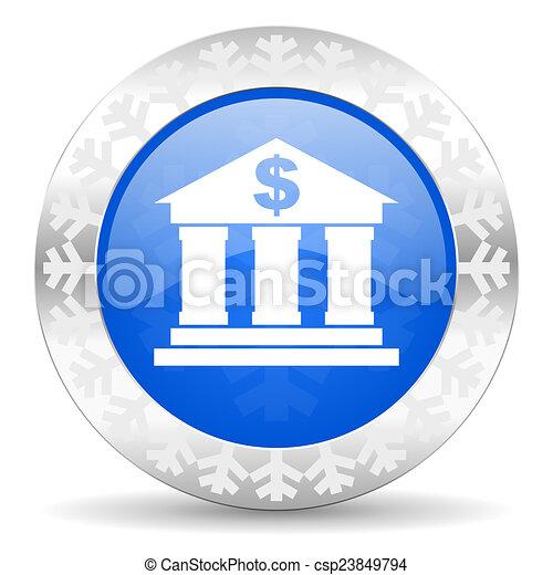 bank blue icon, christmas button - csp23849794