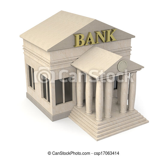 Top View Of A Bank Building 3d Render