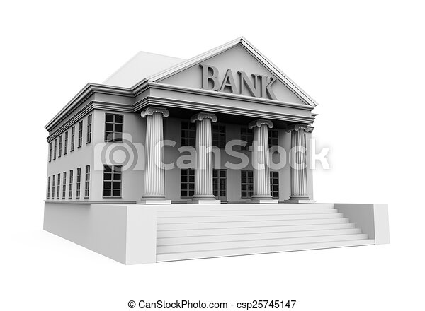 Bank Building Illustration Isolated On White Background 3d Render