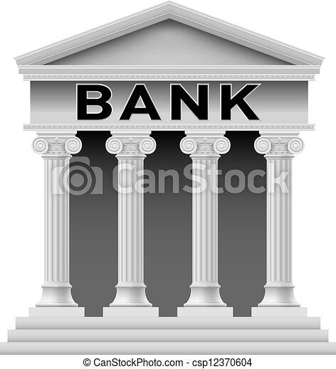 Bank building symbol - csp12370604