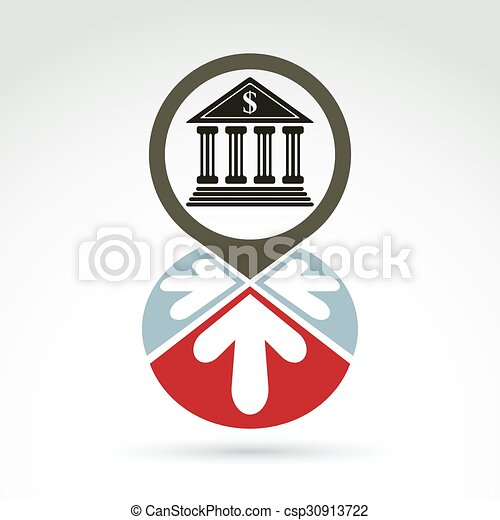 Bank building with arrows vector icon, conceptual symbol, business and finance banking theme. - csp30913722
