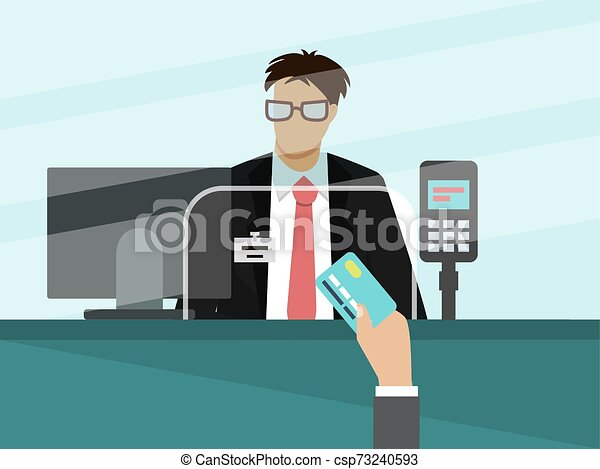 Bank cashier teller behind window vector illustration. Businessman hand with bank card for payment in front of glass. - csp73240593