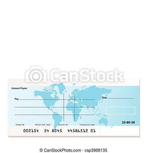 Bank cheque world - csp3968135