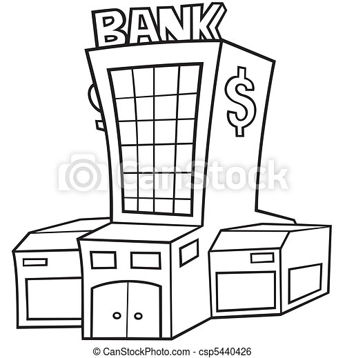 Bank Black And White Cartoon Illustration Vector