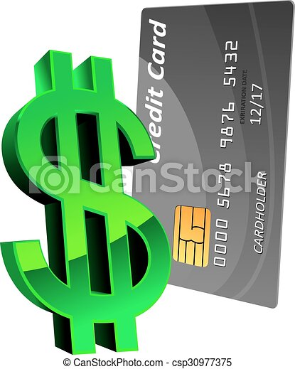 Bank credit card with green dollar sign