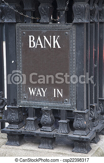 Bank Entrance Sign in Urban Setting - csp22398317