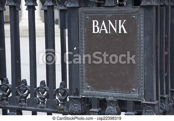 Bank Entrance Sign in Urban Setting - csp22398319