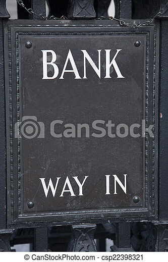 Bank Entrance Sign in Urban Setting - csp22398321