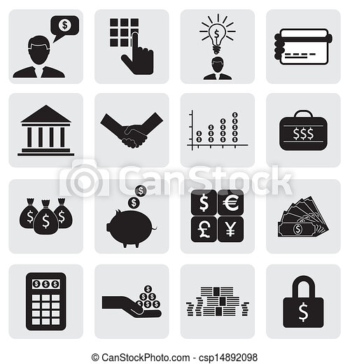 bank & finance icons(signs) related to money, wealth- vector graphic. This illustration can also represent savings account, investments, wealth creation, banking business, saving money(cash),credit cards - csp14892098