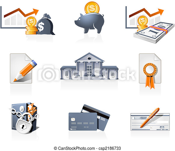 Bank, finances and stock-market icons - csp2186733