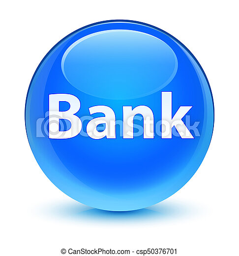 Bank glassy cyan blue round button - csp50376701