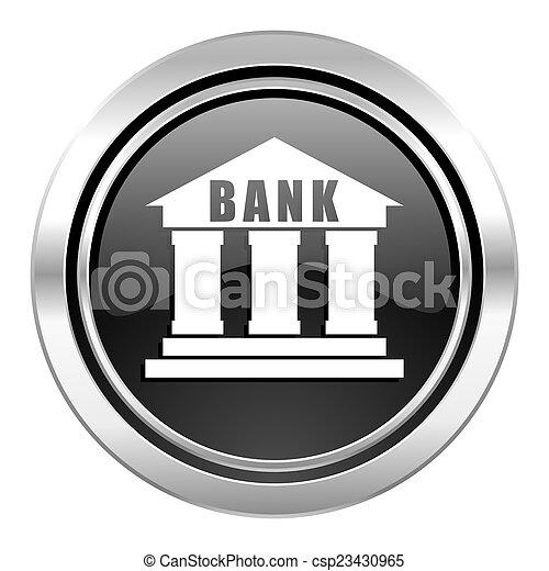 bank icon, black chrome button - csp23430965