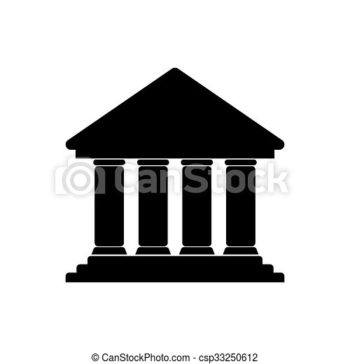 Bank icon on white background - csp33250612
