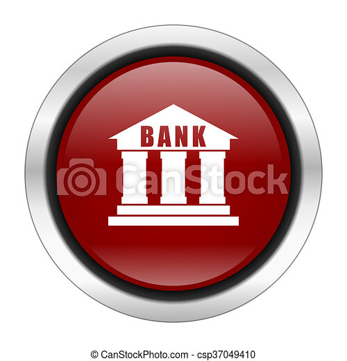 bank icon, red round button isolated on white background, web design illustration - csp37049410