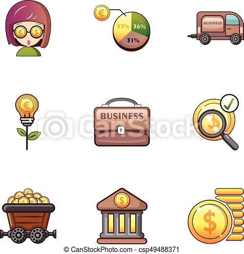 Bank icons set, cartoon style - csp49488371