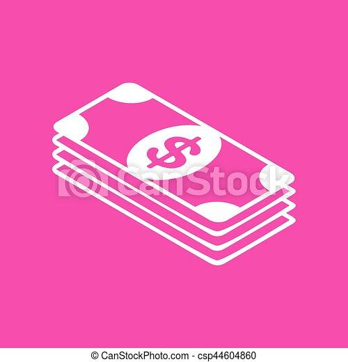 Bank Note dollar sign. White icon at magenta background. - csp44604860