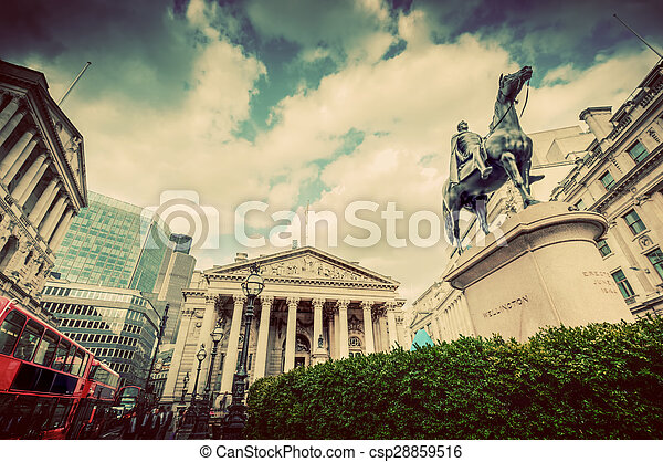 Bank of England, the Royal Exchange in London, the UK. Vintage - csp28859516